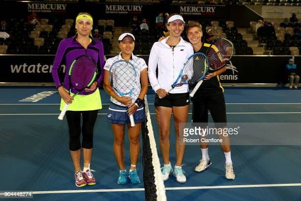 Lyudmyla Kichenok of the Ukraine and Makoto Ninomiya of Japan pose prior to the doubles final againsts Elise Mertens of Belgium and Demi Schuurs of...