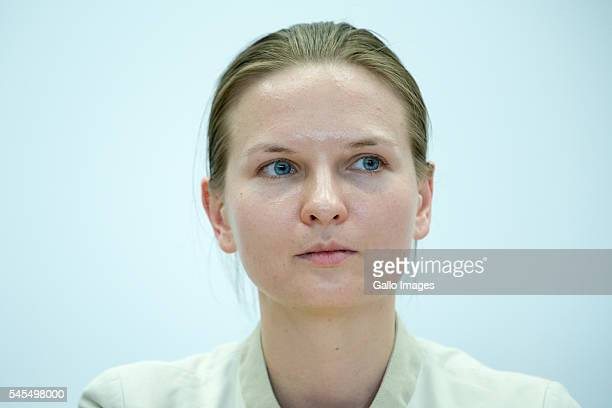 Lyudmyla Kozlovska during Nadiya Savchenko meeting with students on July 7 2016 at the Vistula University in Warsaw Poland Nadiya Savchenko is a...