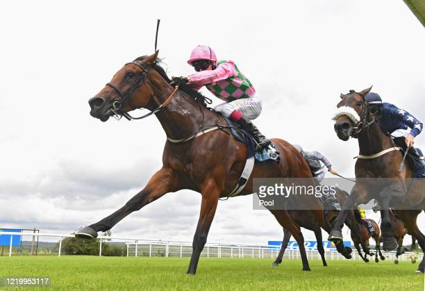 Lyzbeth ridden by Oisin Murphy winning from Bungee Jump in the Coral/British EBF Cathedral Stakes at Goodwood Racecourse on June 14 2020 in...