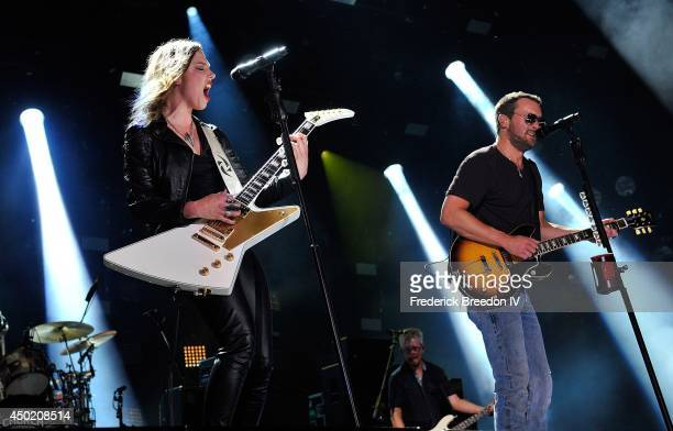 Lzzy Hale and Eric Church perform at LP Field at the 2014 CMA Festival on June 6 2014 in Nashville Tennessee