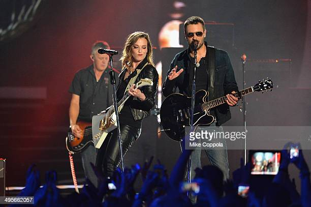 Lzzy Hale and Eric Church perform onstage during the 2014 CMT Music awards at the Bridgestone Arena on June 4 2014 in Nashville Tennessee