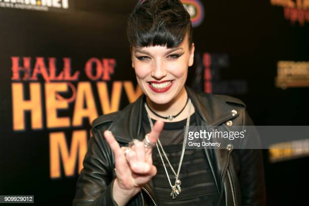 Lzzy Hale lead singer and rhythm guitarist of the hard rock band Halestorm attends the Hall Of Heavy Metal History Awards at Wyndham Anaheim Garden...