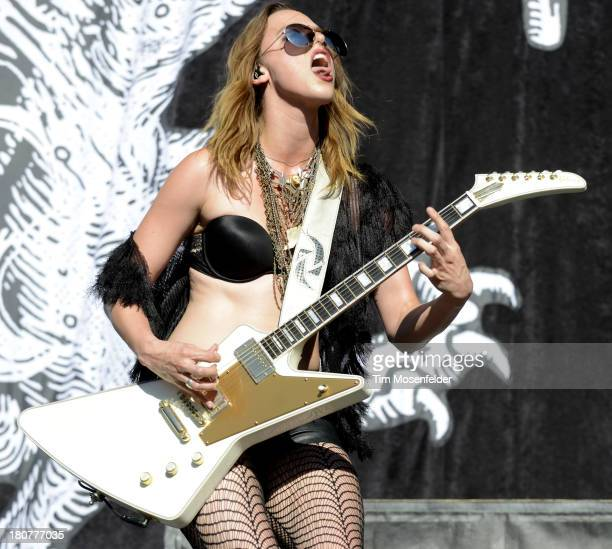 Lzzy Hale of Halestorm performs as part of the Aftershock Music Festival at Discovery Park on September 15 2013 in Sacramento California