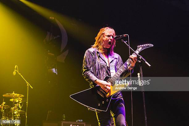 Lzzy Hale of Halestorm performs at First Direct Arena on February 5 2016 in Leeds England