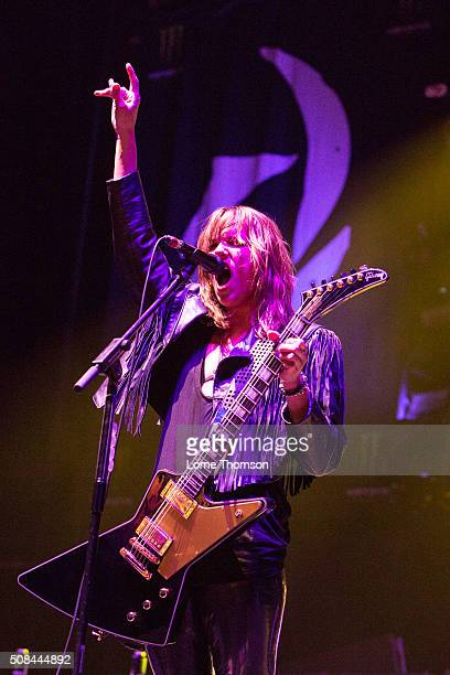 Lzzy Hale of Halestorm performs at SSE Arena Wembley on February 4 2016 in London England