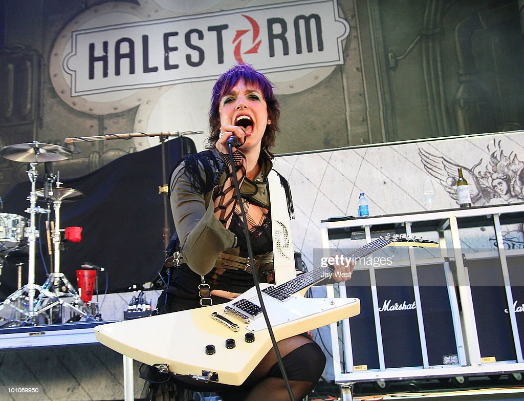Lzzy Hale of Halestorm performs at the Uproar Festival at The Cynthia Woods Mitchel Pavilion on September 12, 2010 in Houston, Texas.