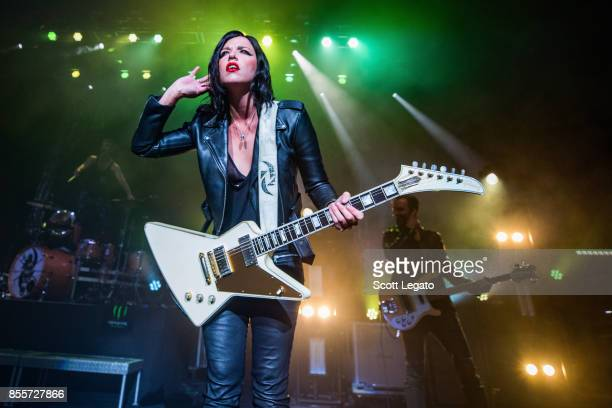 Lzzy Hale of Halestorm performs during Riff Fest at DTE Energy Music Theater on September 29 2017 in Clarkston Michigan