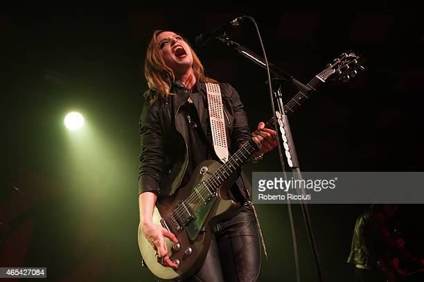 Lzzy Hale of Halestorm performs on stage at Barrowlands Ballroom on March 6 2015 in Glasgow United Kingdom