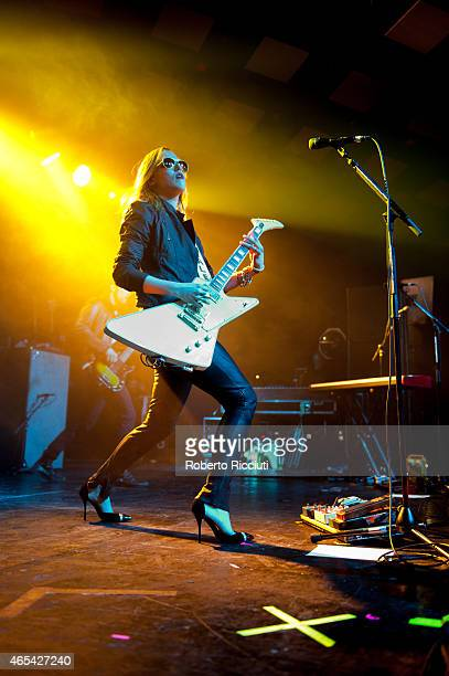 Lzzy Hale of Halestorm performs on stage at Barrowlands Ballroom on March 6, 2015 in Glasgow, United Kingdom.