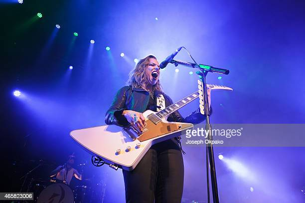 Lzzy Hale of Halestorm performs on stage at The Roundhouse on March 10 2015 in London United Kingdom