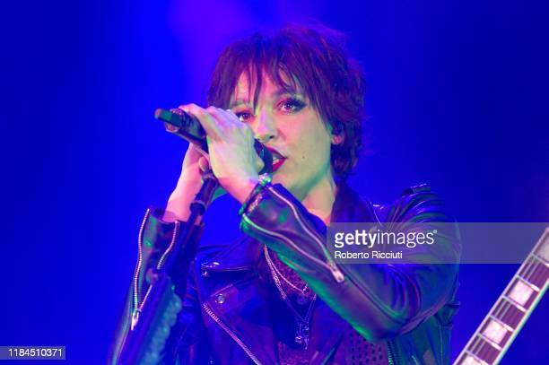 Lzzy Hale of Halestorm performs on stage at The SSE Hydro on November 24 2019 in Glasgow Scotland