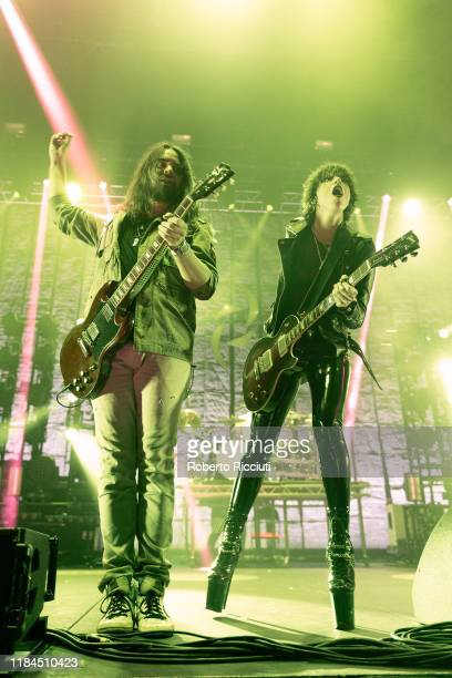 Lzzy Hale of Halestorm performs on stage at The SSE Hydro on November 24, 2019 in Glasgow, Scotland.