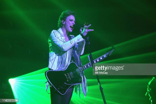 Lzzy Hale of the band Halestorm performs at the BBT Pavilion August 16 2019 in Camden New Jersey