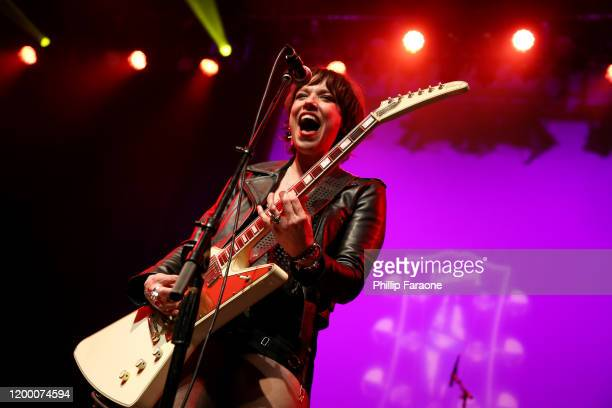 Lzzy Hale performs onstage at the GIBSON NAMM JAM Opening Party 2020 at City National Grove of Anaheim on January 16 2020 in Anaheim California