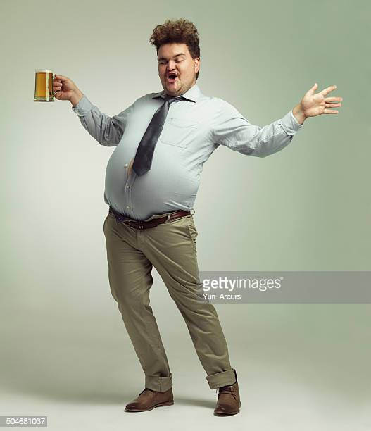 i'm a party animal! - chubby men stock photos and pictures