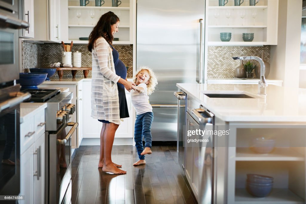 I'm dancing with the baby! : Stock Photo