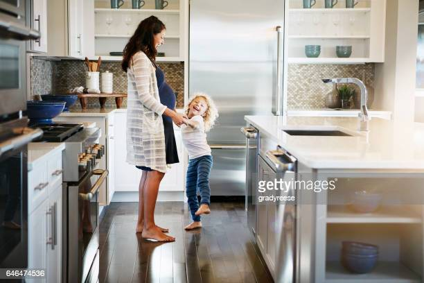 i'm dancing with the baby! - family home stock photos and pictures