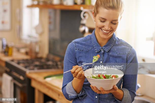 i'm going to enjoy every bite - salad stock pictures, royalty-free photos & images