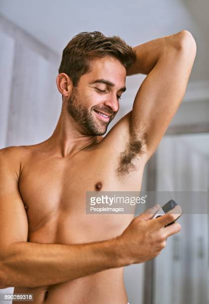 i'm going to smell great all day - male armpits stock pictures, royalty-free photos & images