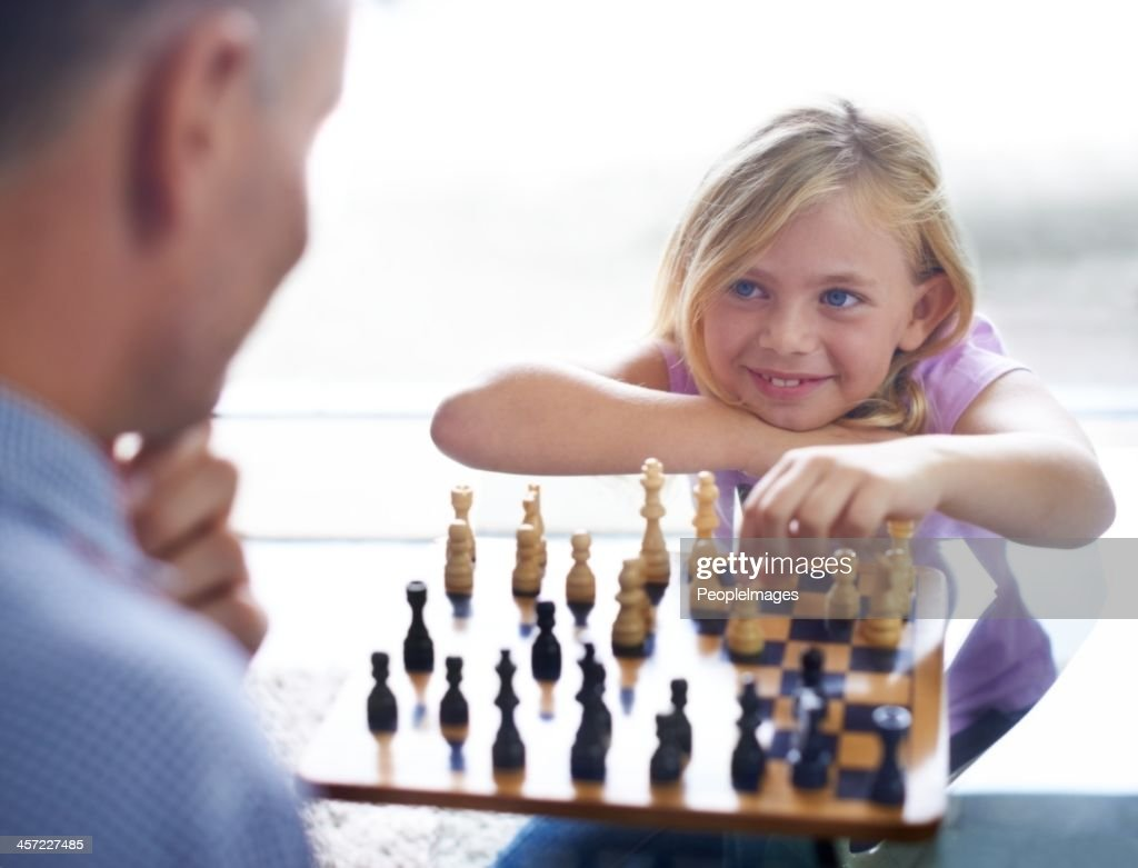 I'm gonna beat you this time dad : Stock Photo