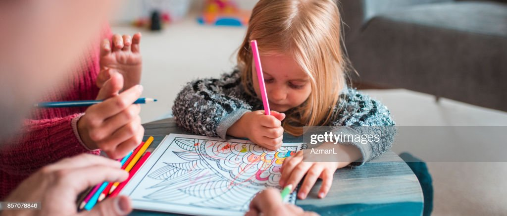 I'm gonna try to colour all by my self! : Stock Photo