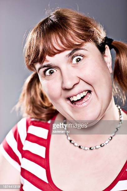 i'm here!!!! - very ugly women stock photos and pictures