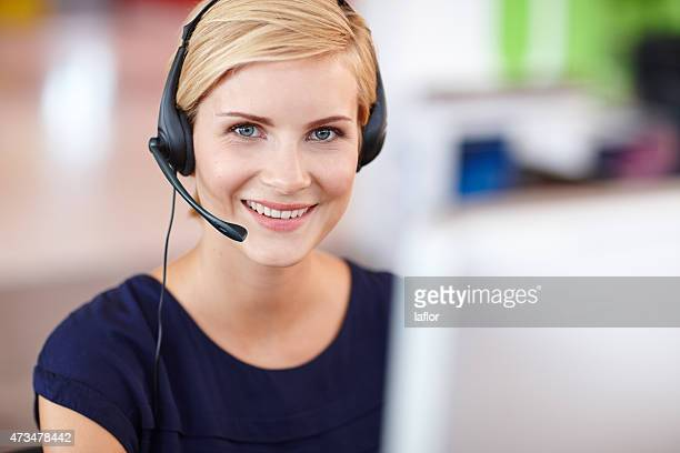 i'm here to assist - receptionist stockfoto's en -beelden