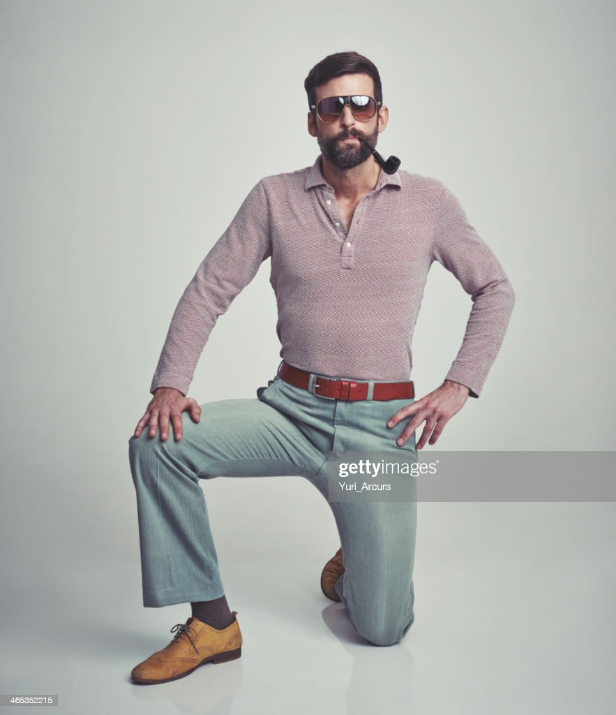I'm just your average 70s man! : Stock Photo