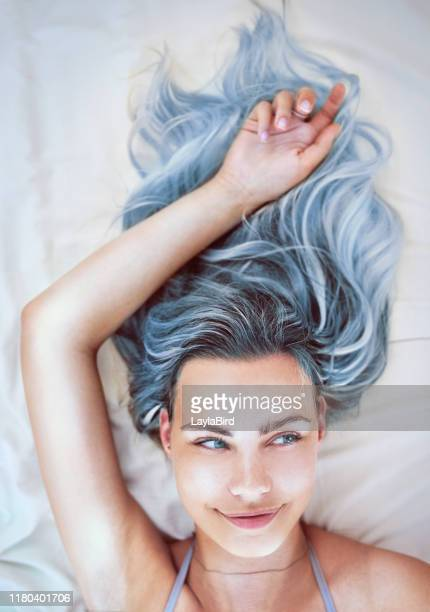 i'm not feeling blue but my hair is - blue hair stock pictures, royalty-free photos & images