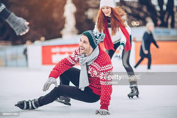 i'm still learning how to skating on ice - ice rink stock photos and pictures