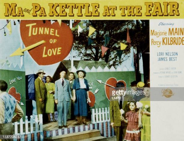 Ma And Pa Kettle At The Fair lobbycard from left center Percy Kilbride Marjorie Main 1952
