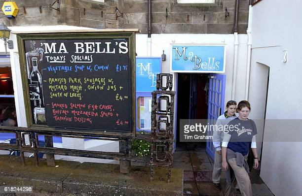 Ma Bell's pub bar and club a favourite of students at St Andrews University Scotland Menu Specials board Blackboard
