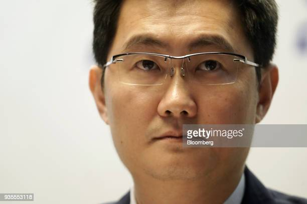 Ma Huateng chairman and chief executive officer of Tencent Holdings Ltd attends a news conference in Hong Kong China on Wednesday March 21 2018...
