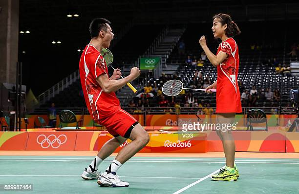 Ma Jin and Xu Chen of China celebrate during Badminton Mixed Doubles Quarter Final match against Ha Na Kim and Hyun Sung Ko of Korea on Day 9 of the...