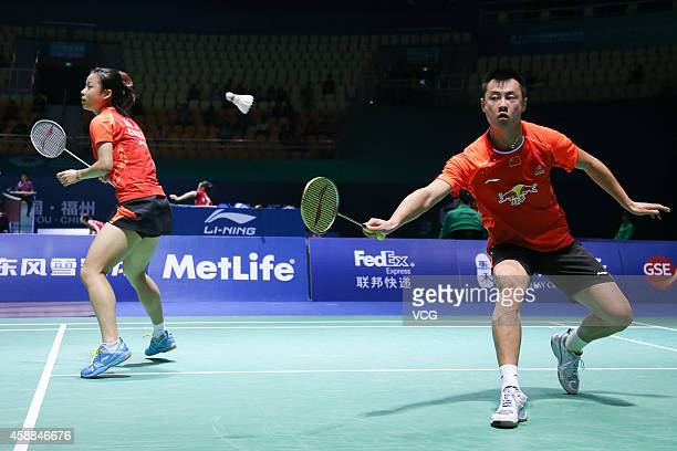 Ma Jin and Xu Chen of China in action against Sam Magee and Chloe Magee of Ireland in the Mixed Doubles match on day two of the BWF 2014 Thaihot...