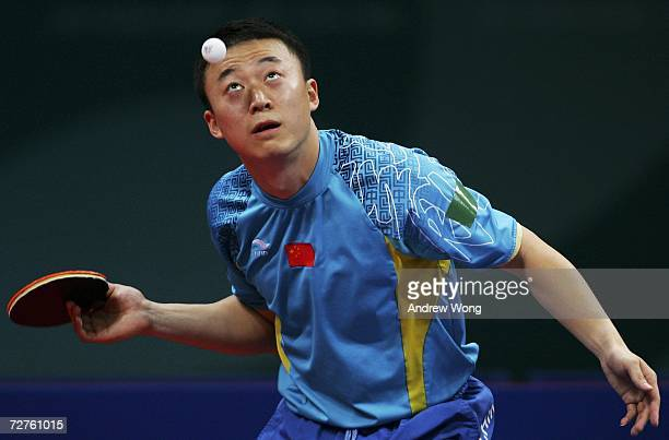 Ma Lin of China plays a shot during the Men's Table Tennis singles final during the 15th Asian Games Doha 2006 at the Al-Arabi Indoor Hall, December...