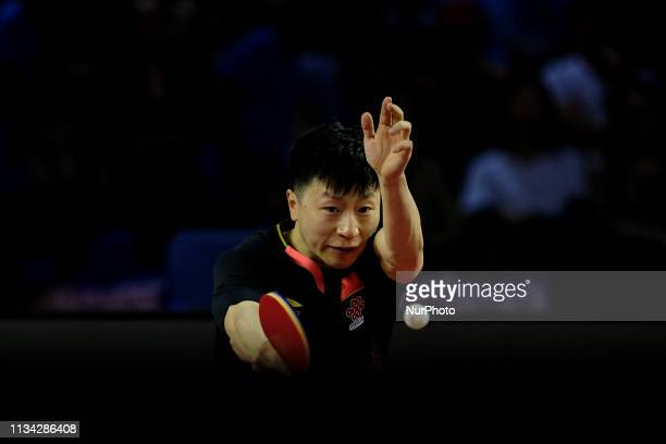 Ma Long in action during the Seamaster 2019 ITTF World Tour Platinum Qatar Open final held in the Ali Bin Hamad Al Attiyah Arena , Doha, Qatar on 31,...