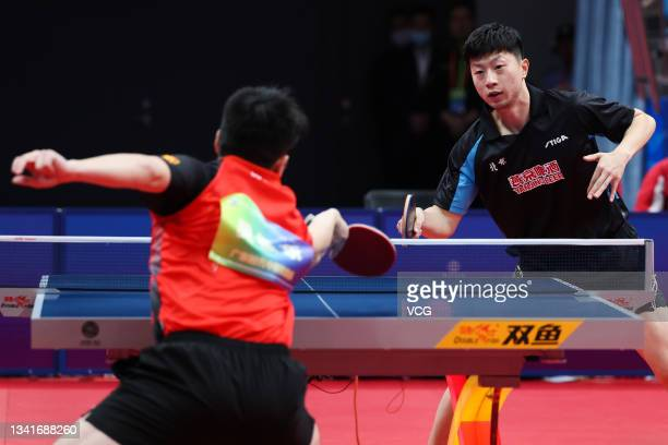Ma Long of Beijing competes in the Men's Table Tennis Group Final Match against Fan Zhendong of Guangdong during China's 14th National Games at...