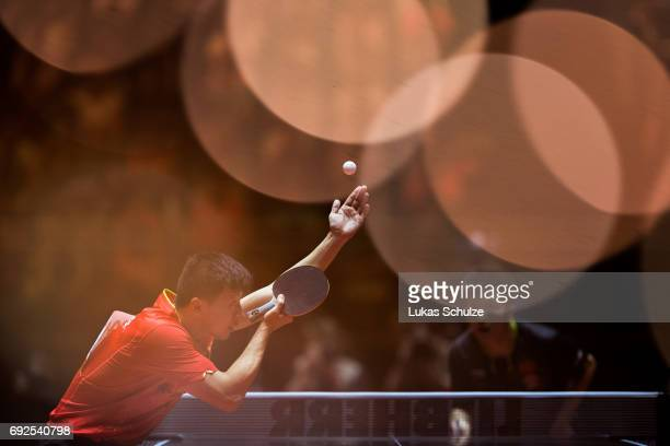 Ma Long of China attends the Men's Singles Final match of the Table Tennis World Championship at Messe Duesseldorf on June 5 2017 in Dusseldorf...