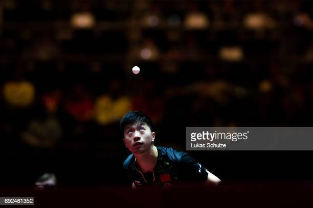 Ma Long of China attends the Men's Singles Semi Final match of the Table Tennis World Championship at Messe Duesseldorf on June 5 2017 in Dusseldorf...