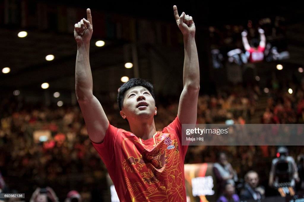 Ma Long of China celebrates after winning Men's Singles Final at Table Tennis World Championship at Messe Duesseldorf on June 5, 2017 in Dusseldorf, Germany.