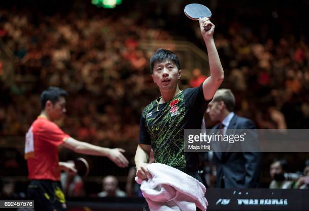 Ma Long of China celebrates after winning Men's Singles Semifinals against Xin Xu of China at Table Tennis World Championship at Messe Duesseldorf on...