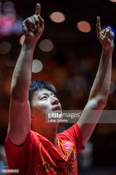 Ma Long of China celebrates after winning the Men's Singles Final match of the Table Tennis World Championship at Messe Duesseldorf on June 5, 2017...
