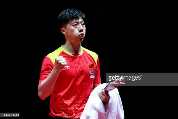 Ma Long of China celebrates the victory at the men's singles final compete with Fan Zhendong of China during the 2018 ITTF World Tour China Open on...