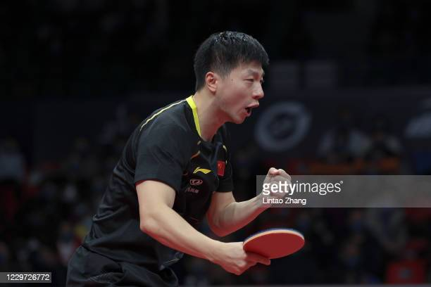 Ma Long of China celebrates winning the men's single final match between Fan Zhendong of China during day four of 2020 ITTF Finals at Zhengzhou...