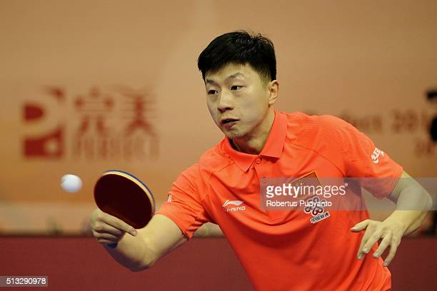 Ma Long of China competes against Robert Gardos of Austria during the 2016 World Table Tennis Championship Men's Team Division Round 5 match at...