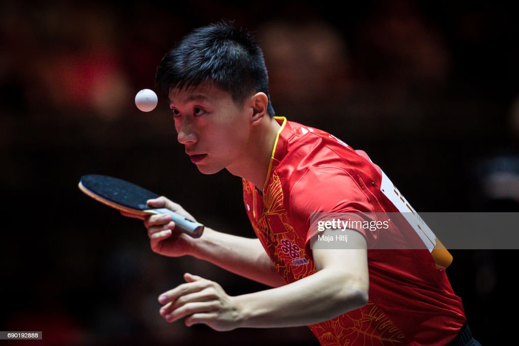 Ma Long of China competes during Men Double 1. Round at Table Tennis World Championship at Messe Duesseldorf on May 30, 2017 in Dusseldorf, Germany.