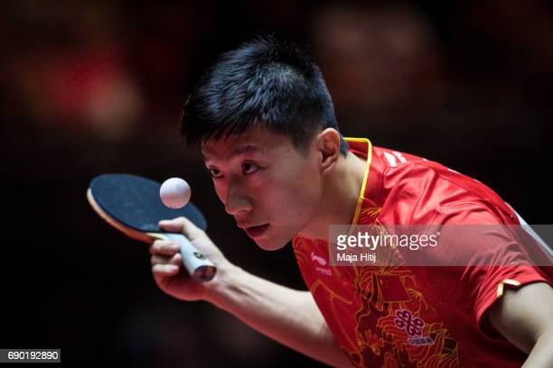 Ma Long of China competes during Men Double 1 Round at Table Tennis World Championship at Messe Duesseldorf on May 30 2017 in Dusseldorf Germany