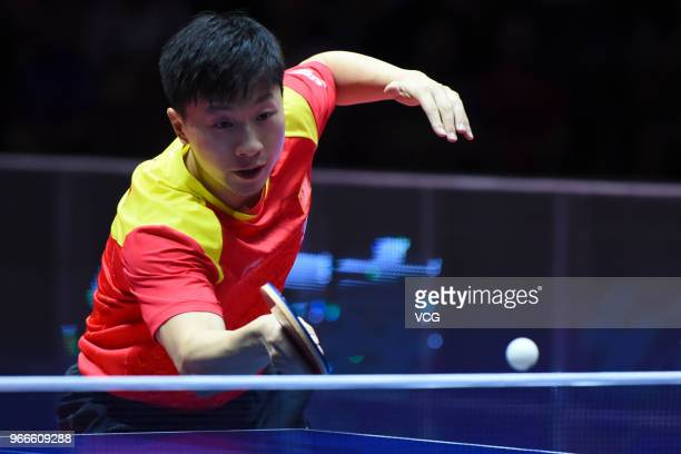 Ma Long of China competes during men's singles final match against Fan Zhendong of China on day four of the 2018 ITTF World Tour China Open at Baoan...