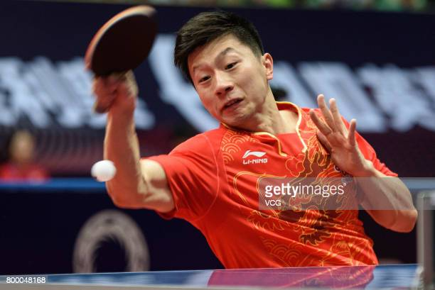 Ma Long of China competes during the men's singles first round match against Kenta Tazoe of Japan on the day one of the 2017 ITTF World Tour China...